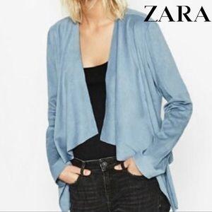 Zara NWT powder blue suede effect waterfall jacket